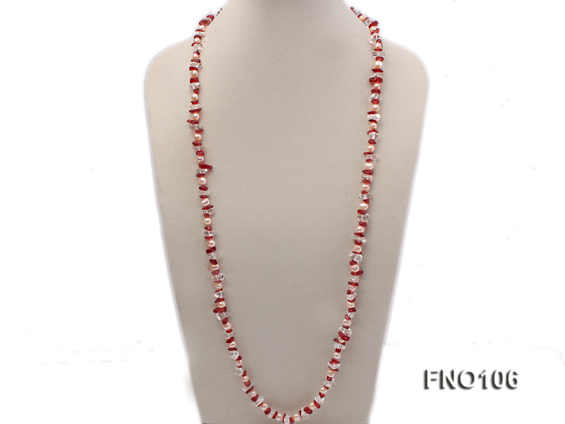 7-8mm yellow freshwater pearl and white and red crystal necklace big Image 3