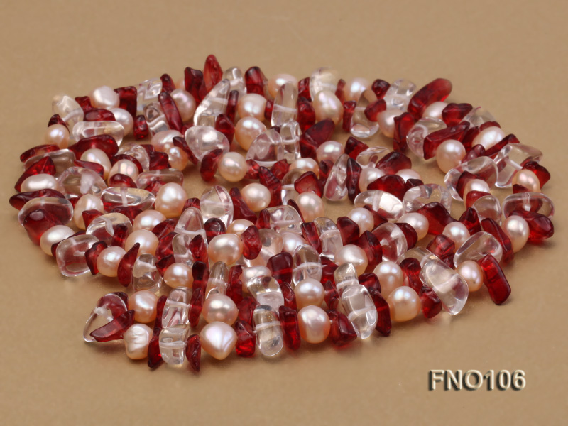 7-8mm yellow freshwater pearl and white and red crystal necklace big Image 4