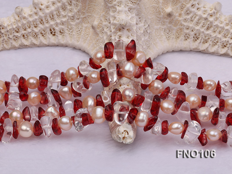 7-8mm yellow freshwater pearl and white and red crystal necklace big Image 5