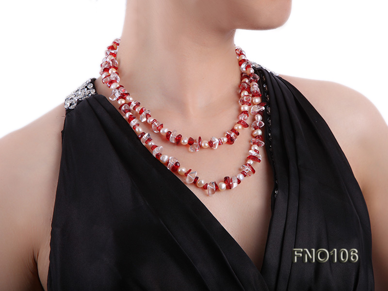 7-8mm yellow freshwater pearl and white and red crystal necklace big Image 6