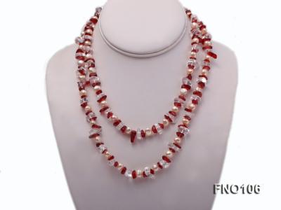 7-8mm yellow freshwater pearl and white and red crystal necklace FNO106 Image 1