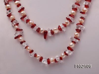 7-8mm yellow freshwater pearl and white and red crystal necklace FNO106 Image 2