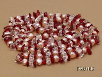 7-8mm yellow freshwater pearl and white and red crystal necklace FNO106 Image 4