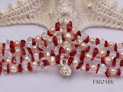 7-8mm yellow freshwater pearl and white and red crystal necklace FNO106 Image 5