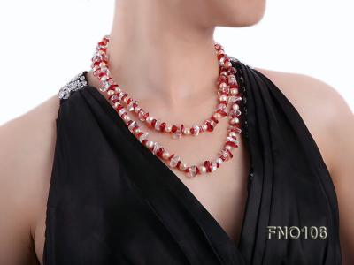 7-8mm yellow freshwater pearl and white and red crystal necklace FNO106 Image 6