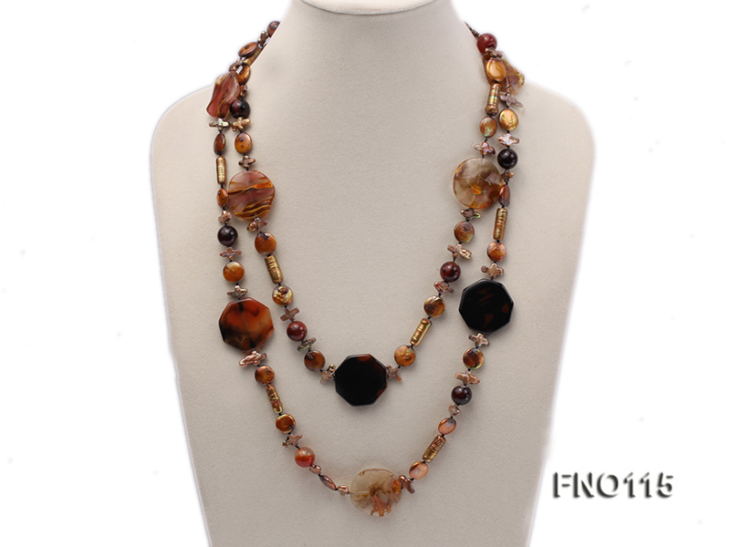 12-20mm yellow coin pearl and biwa pearl and irregular pearl and agate necklace big Image 1