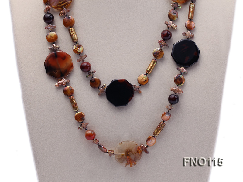 12-20mm yellow coin pearl and biwa pearl and irregular pearl and agate necklace big Image 2