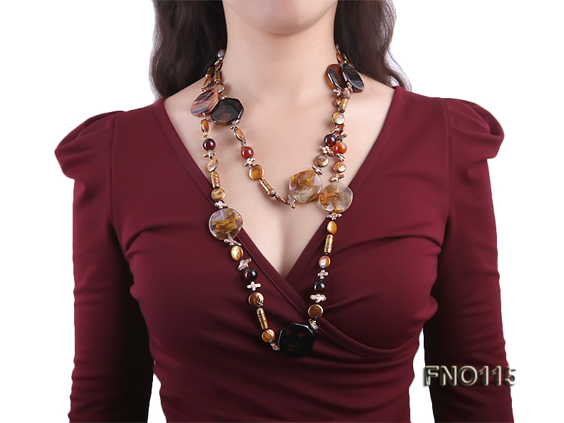 12-20mm yellow coin pearl and biwa pearl and irregular pearl and agate necklace big Image 6