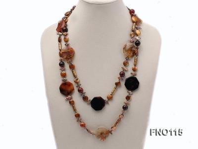 12-20mm yellow coin pearl and biwa pearl and irregular pearl and agate necklace FNO115 Image 1