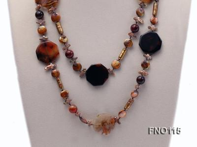 12-20mm yellow coin pearl and biwa pearl and irregular pearl and agate necklace FNO115 Image 2