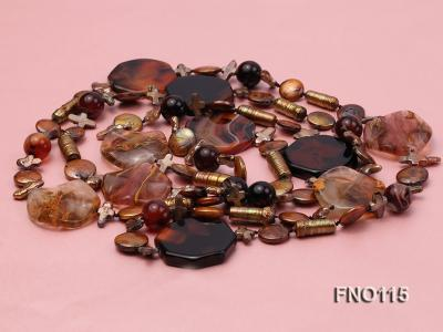 12-20mm yellow coin pearl and biwa pearl and irregular pearl and agate necklace FNO115 Image 3