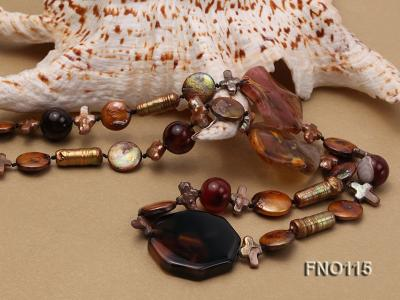 12-20mm yellow coin pearl and biwa pearl and irregular pearl and agate necklace FNO115 Image 4