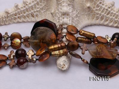 12-20mm yellow coin pearl and biwa pearl and irregular pearl and agate necklace FNO115 Image 5