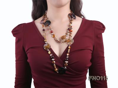 12-20mm yellow coin pearl and biwa pearl and irregular pearl and agate necklace FNO115 Image 6