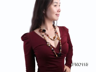 12-20mm yellow coin pearl and biwa pearl and irregular pearl and agate necklace FNO115 Image 7