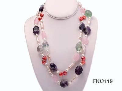 15-20mm white irregular freshwater pearl alternated rose quartz and fluorite necklae FNO119 Image 1