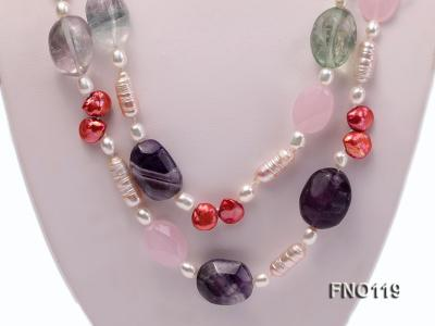 15-20mm white irregular freshwater pearl alternated rose quartz and fluorite necklae FNO119 Image 2