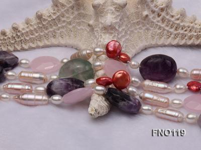 15-20mm white irregular freshwater pearl alternated rose quartz and fluorite necklae FNO119 Image 5