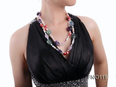 15-20mm white irregular freshwater pearl alternated rose quartz and fluorite necklae FNO119 Image 8