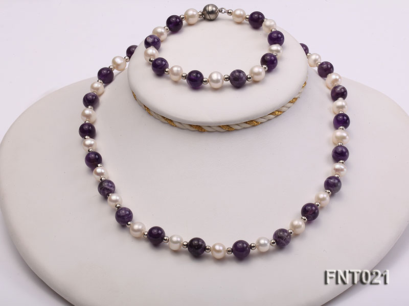 White Freshwater Pearl & Amethyst Beads Necklace and Bracelet Set big Image 1