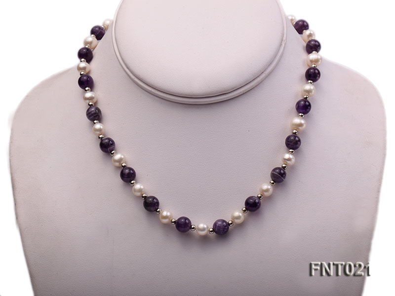 White Freshwater Pearl & Amethyst Beads Necklace and Bracelet Set big Image 2