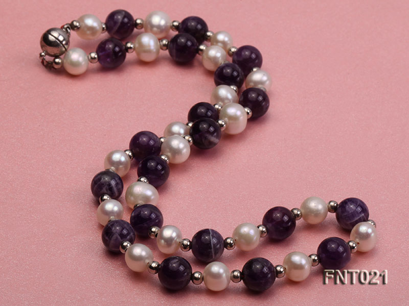 White Freshwater Pearl & Amethyst Beads Necklace and Bracelet Set big Image 3