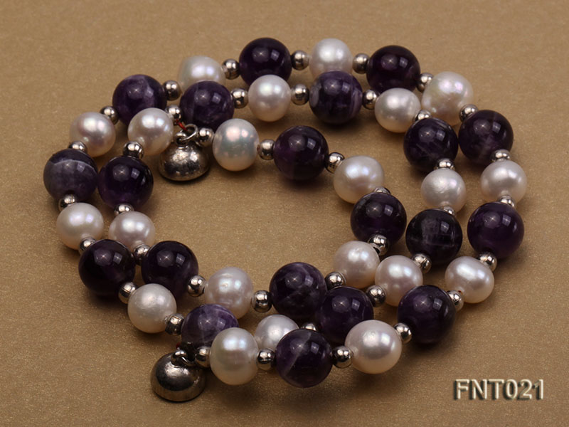 White Freshwater Pearl & Amethyst Beads Necklace and Bracelet Set big Image 4