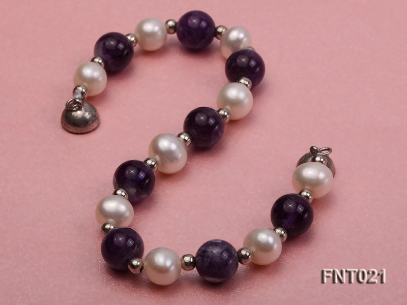 White Freshwater Pearl & Amethyst Beads Necklace and Bracelet Set big Image 5