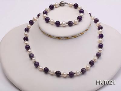 White Freshwater Pearl & Amethyst Beads Necklace and Bracelet Set FNT021 Image 1