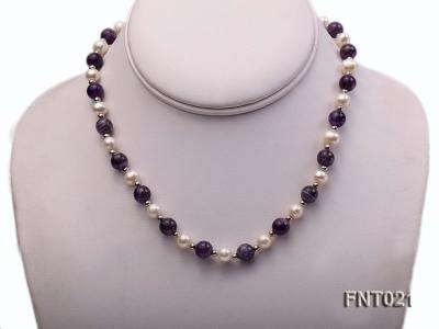 White Freshwater Pearl & Amethyst Beads Necklace and Bracelet Set FNT021 Image 2
