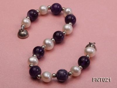 White Freshwater Pearl & Amethyst Beads Necklace and Bracelet Set FNT021 Image 5