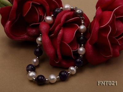 White Freshwater Pearl & Amethyst Beads Necklace and Bracelet Set FNT021 Image 6