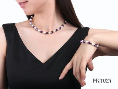 White Freshwater Pearl & Amethyst Beads Necklace and Bracelet Set FNT021 Image 7