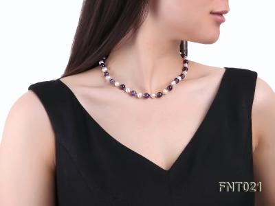 White Freshwater Pearl & Amethyst Beads Necklace and Bracelet Set FNT021 Image 9