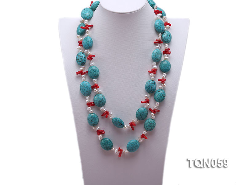 22mm blue round turquoise and red coral sticks necklace with gilded clasp big Image 2
