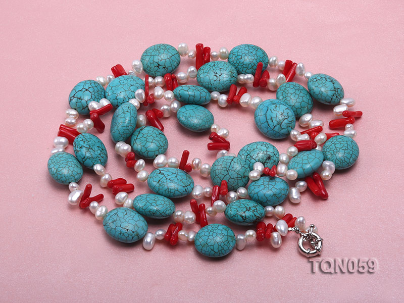 22mm blue round turquoise and red coral sticks necklace with gilded clasp big Image 4