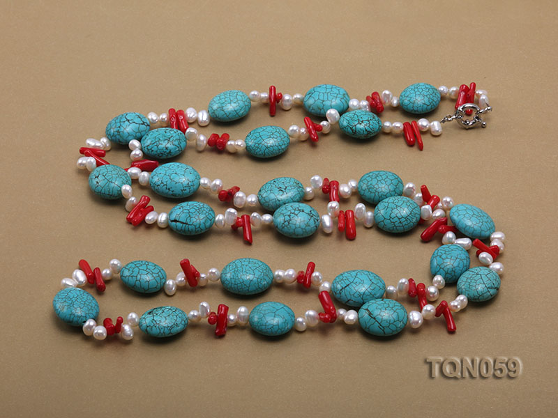 22mm blue round turquoise and red coral sticks necklace with gilded clasp big Image 5