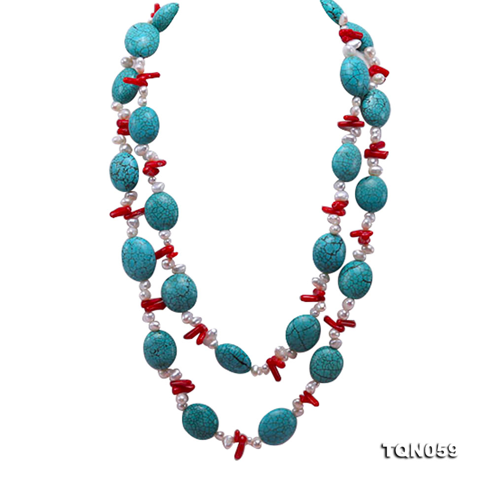 22mm blue round turquoise and red coral sticks necklace with gilded clasp big Image 1