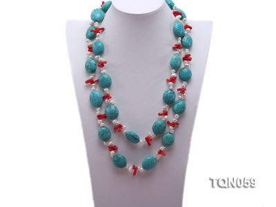 22mm blue round turquoise and red coral sticks necklace with gilded clasp TQN059 Image 2