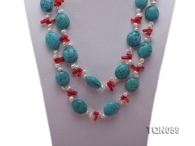 22mm blue round turquoise and red coral sticks necklace with gilded clasp TQN059 Image 3
