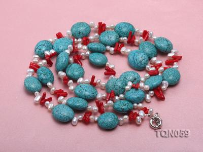 22mm blue round turquoise and red coral sticks necklace with gilded clasp TQN059 Image 4