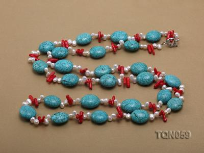 22mm blue round turquoise and red coral sticks necklace with gilded clasp TQN059 Image 5