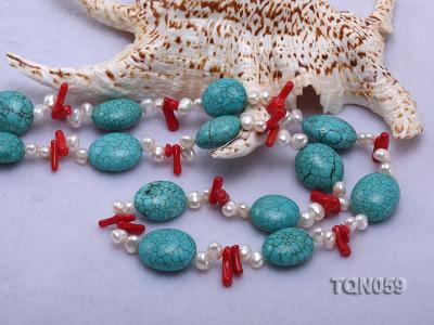 22mm blue round turquoise and red coral sticks necklace with gilded clasp TQN059 Image 6