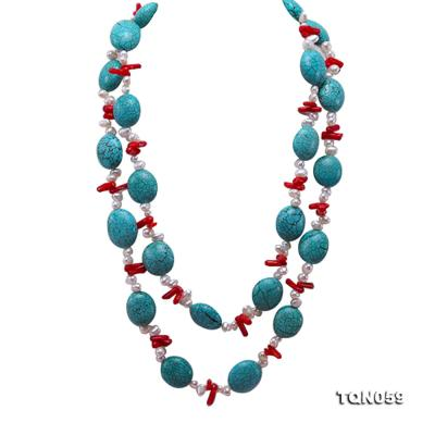 22mm blue round turquoise and red coral sticks necklace with gilded clasp TQN059 Image 1