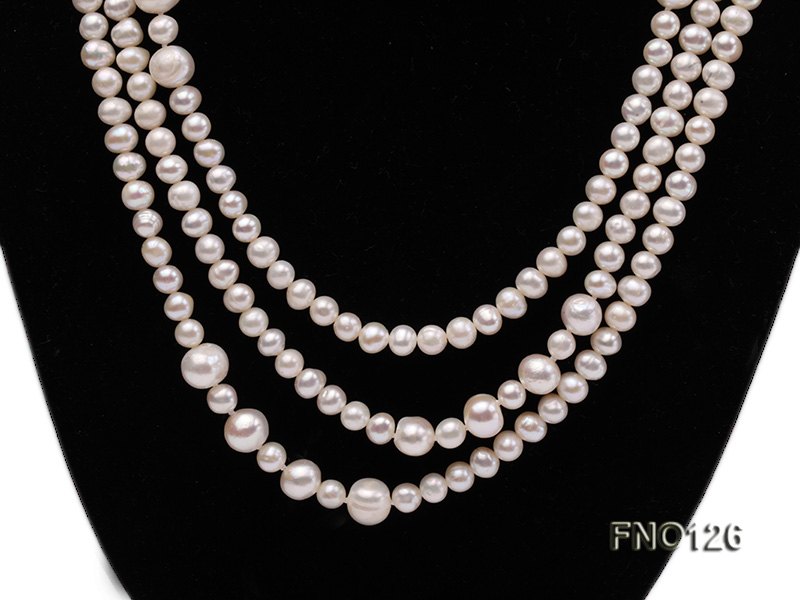 5-6mm natural white round freshwater pearl with big pearls necklace big Image 3