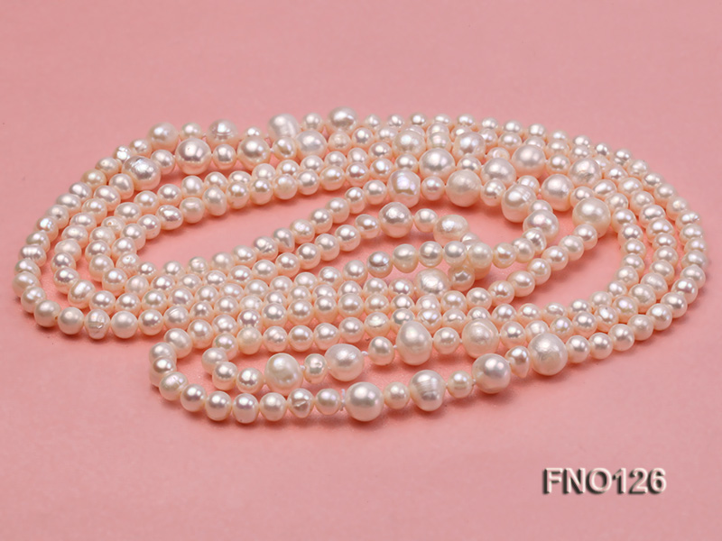 5-6mm natural white round freshwater pearl with big pearls necklace big Image 4