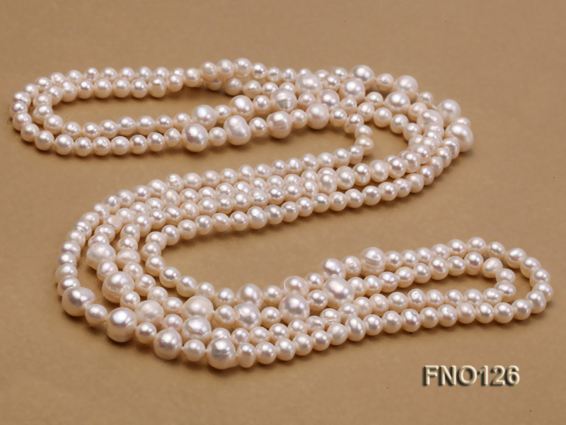 5-6mm natural white round freshwater pearl with big pearls necklace big Image 5