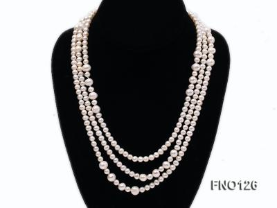 5-6mm natural white round freshwater pearl with big pearls necklace FNO126 Image 2
