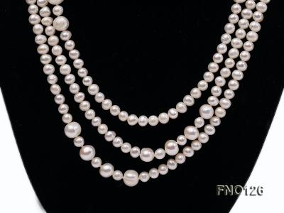 5-6mm natural white round freshwater pearl with big pearls necklace FNO126 Image 3