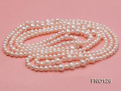 5-6mm natural white round freshwater pearl with big pearls necklace FNO126 Image 4